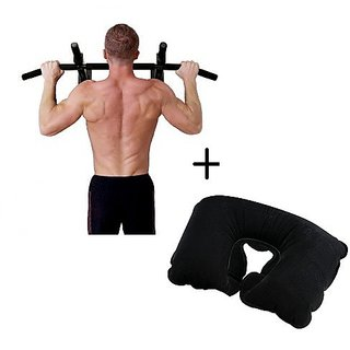 IBS Push Mount Door Chin Iron Wall Hanging Workout Biceps Triceps Gym With Neck Pain Relief Travel Pillow Pull-up Bar