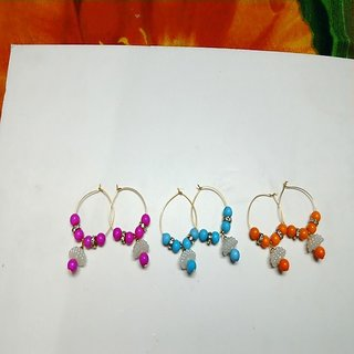 Colorful pearl earring balli pair  of three