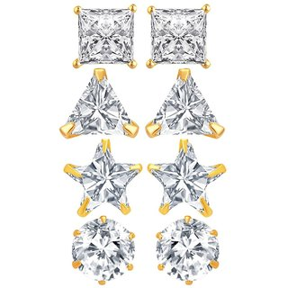 Fashion Frill Single Stone Combo Earring