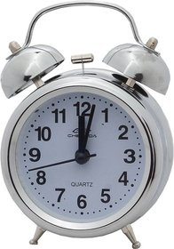 6th Dimensions Quartz Steel Twin Bell Alarm Clock With Light (White Base)