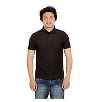 Black Polyester Cotton Blend Polo Neck T-Shirt