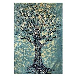 Handicrunch Mandala Wall hanging Home dcor tapestry Blue Designer Tree Of Life Tapestry Single Bedspread Sofa Th