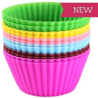 SILICONE ROUND SHAPE BAKEWARE CAKE MUFFINS TART AND CUP CAKE MOULDS - SET OF 12PCS
