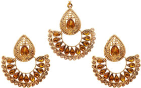 Kriaa by JewelMaze Gold Plated Brown Kundan And Austrian Stone Chandbali Earrings With Maang Tikka-AAA1725
