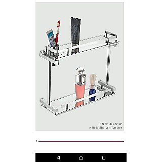 S.S DOUBLE SHELF WITH TOOTHBRUSH TUMBLER