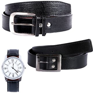 Hardys Black Leatherite Belt For Men (Synthetic leather/Rexine)