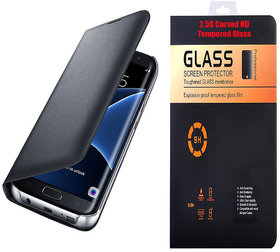 Samsung Galaxy J7 2016 J710 Black Leather Flip Cover with 9H Curved Edge Tempered Glass