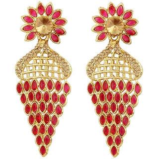 Styylo Fashion Exclusive Golden Pink White Earring Set / S 4025