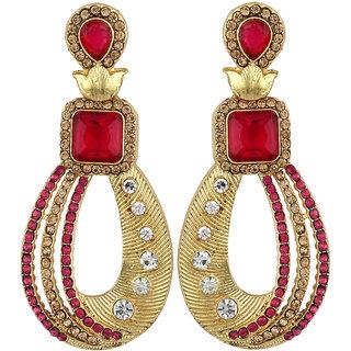 Styylo Fashion Exclusive Golden Pink White Earring Set / S 4027