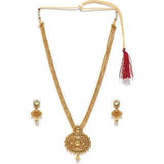 Zaveri Pearls Antique Gold Haram Necklace Set - ZPFK4416