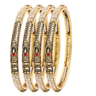 Jewels Galaxy Elegant Antique Design American Diamond Mayur Bangles Collection For Women/Girls- Set Of 4