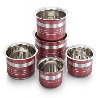 MAHAVIR STAINLESS STEEL 5PCS COLOR COATED TOPE-RED