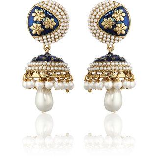 Zaveri Pearls Pearl Bead Meenakari Jhumki Earring- ZPFK1378