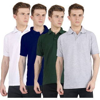 Van Galis Fashion Wear Multi Color Cotton Polo T-Shirts For Men- Pack Of 4