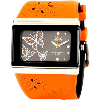 Q&Q Orange/Black Analog Watch GV79