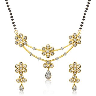 Jewels Galaxy Alloy Gold Plating American Diamonds Studded White Coloured Mangalsutra Set