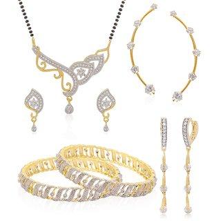Jewels Galaxy Elegant Set Of Ad BanglesMangalsutra SetEarcuff  Solitaire Drop Bali Combo Of 4
