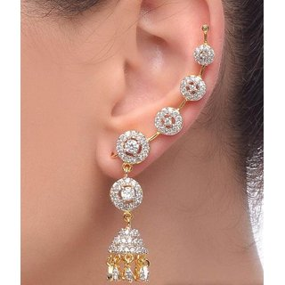 Jewels Galaxy Exclusive American Diamond Earcuffs - 1 Pair