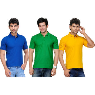 Van Galis Fashion Wear Multi Color Casual Polo T-Shirts For Men- Pack Of 3
