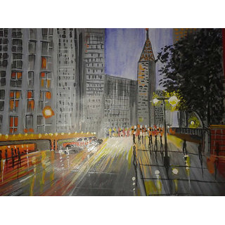 Busy City In Afternoon Canvas Painting