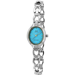 Q&Q Superior Series Silver/Sky Blue Analog  Watch-R367-212Y