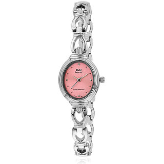 Q&Q Superior Series Silver/Pink Analog  Watch-R367-222Y