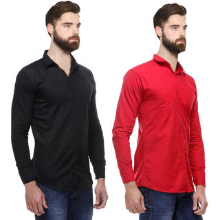 Red Code Pack of 2 Slim Fit Poly-Cotton Shirts For Men