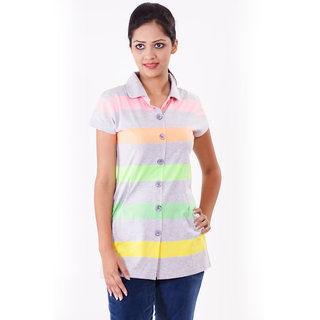 Her Grace Stripe Button Long Top