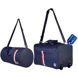 4f909a0322 3G Bags Navy Polyester Duffel Bag (2 Wheels) (Combo)