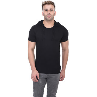 Bi Fashion Men's Black Hooded t-shirt