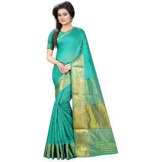 Krishnam Fashion Blue Cotton Printed Saree With Blouse