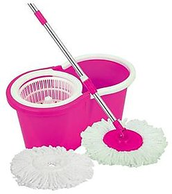 Easy Cleaning Mop With Two Mop Heads-Assorted