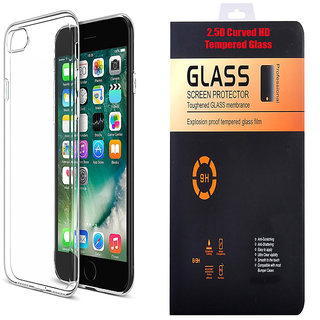 Micromax Vdeo 4 Q4251 Soft Transparent TPU Back Cover with 9H Curved Edge HD Tempered Glass