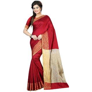 Krishnam Fashion Red Silk Printed Saree With Blouse