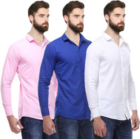 Red Code Pack of 3 Slim Fit Poly-Cotton Shirts For Men