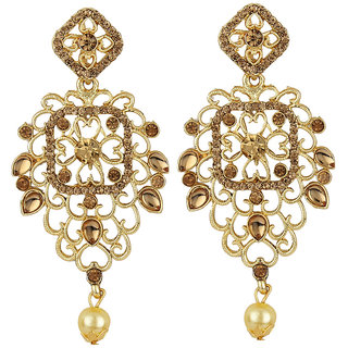 Jewels Guru Exclusive Golden White Earring Set / S 4083