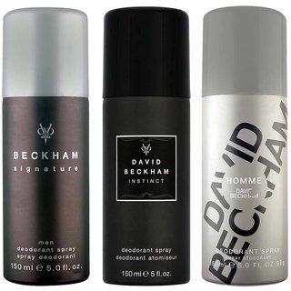 David Beckham Signature Instinct And Homme Deodorant Spray - For Menof 150 Ml each (pack of 3)