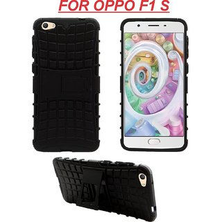 Oppo F1s Defender (Black) Back Cover Defender Tough Hybrid Armour Shockproof Hard with Kick Stand Rugged Back Case Cover