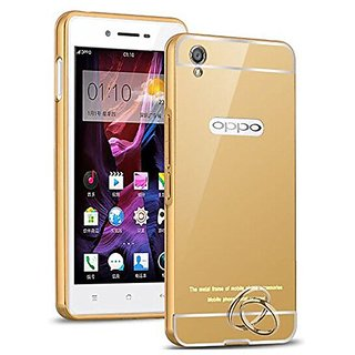 Oppo A37 Luxury Metal Bumper + Acrylic Mirror Back Cover Case For Oppo A37 By Vinnx