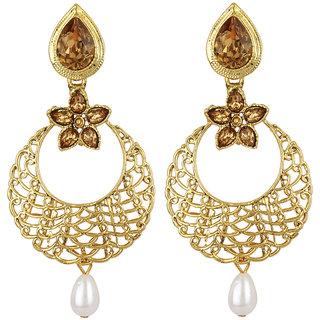 Jewels Guru Exclusive Golden White Earring Set / S 4095