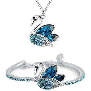 Om Jewells Crystal Jewellery Combo Set of Exotic Swan Pendant Necklace and Adjustable Bangle Bracelet CO1000037RHO