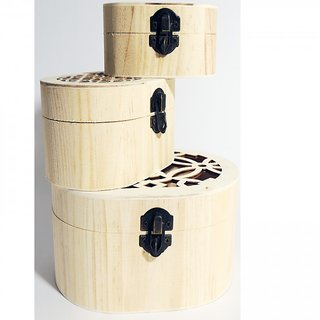 6th Dimensions Wooden Storage Box Set Of 3