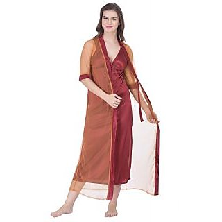 Claura Women's Satin Nighty with Net  Robe