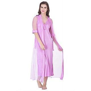 Claura Women's Satin Nighty with Net  Robe