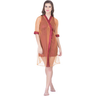 c0b7fdf9d2 Buy Claura Women s Satin Nighty with Net Robe Online - Get 60% Off