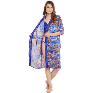 Claura Printed Robe with Lingerie set
