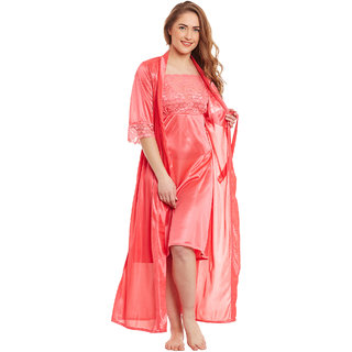 Claura Satin Stylish Nighty With Robe