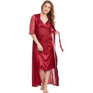Buy Claura Satin Stylish Nighty With Robe Online - Get 64% Off 196ace1a6