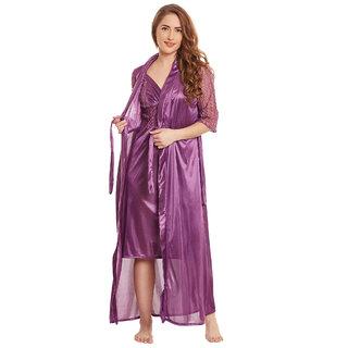 Claura Satin Stylish Nighty With Robe