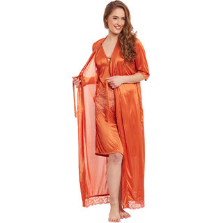 CLAURA Satin Nighty With Robe